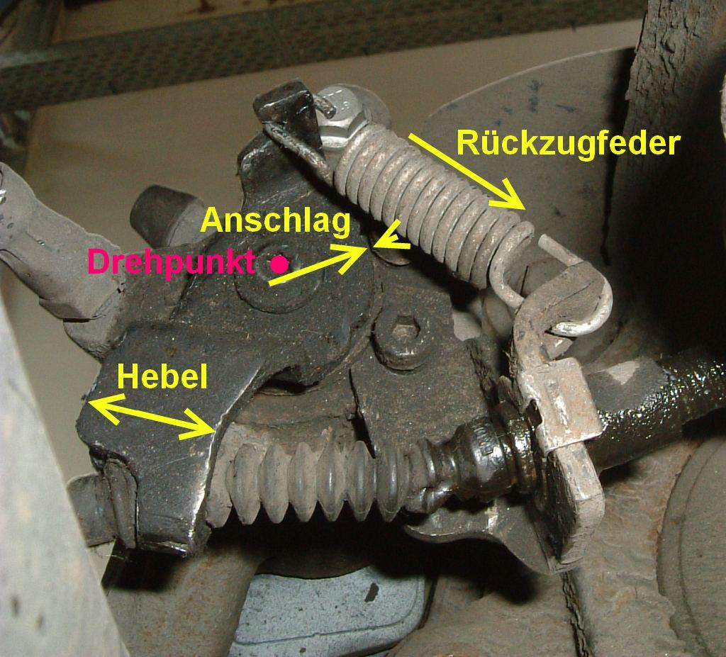 Abb2 Anschlag der Handbremsbetätigung am hinteren Bremssattel